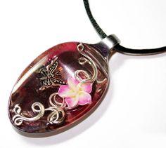 Resin Spoon Pendant - Pink Butterfly - Pendant by Create-A-Pendant.deviantart.com on @deviantART