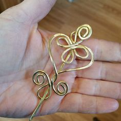 Heart Celtic Shawl Pin Brass Scarf Pin Sweater Clip Brooch