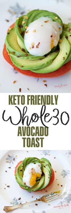 A delicious breakfast that is gluten free and keto friendly is Whole30 avocado toast topped with a perfectly poached egg. When you love avocado toast but need a whole 30 option this whole30 avocado toast recipe will hit the spot. Garden fresh tomato toppe