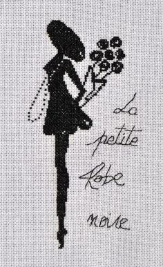 point de croix ombre femme petite robe noire - cross stitch shadow lady and little black dress Cross Stitch Embroidery, Cross Stitch Patterns, Cross Stitch Silhouette, Victorian Women, All Craft, Le Point, Book Crafts, Couture, Hats For Women