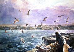 Seaside Art, Watercolor Paintings, Watercolour, People Art, Pastel, Photos, Portrait, Turkey, Travel