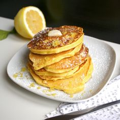 Lemon Ricotta Pancakes by thebootblog. Recipe by Gourmet. #Pancakes #Lemon_Ricotta