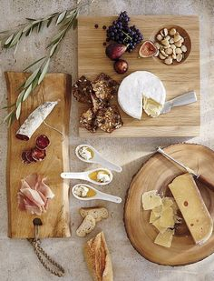 Cheese and Charcuterie (two of our favourite things!) presented in the prettiest way on these wooden platters and boards - Crate & Barrel Wedding Registry(Wine And Cheese Table) Cheese Table, Cheese Platters, Antipasto, Memorial Day Foods, Wooden Platters, Wood Tray, Cheese Appetizers, Cheese Party, Creamy Cheese
