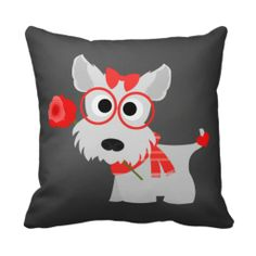 Valentines Day Gray Schnauzer With Rose Pillow