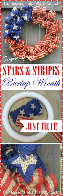 Tie concept for different wreath ideas. Stars and Stripes Burlap Wreath.Just Tie It! Patriotic Wreath, Patriotic Crafts, Patriotic Decorations, July Crafts, Summer Crafts, Americana Crafts, Burlap Crafts, Wreath Crafts, Diy Wreath