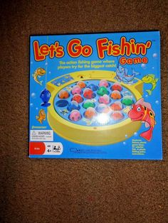 Let's Go Fishin' Classic Board Game Kids 21 Fish and 4 Fishing Poles Go Fish  #Pressman