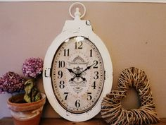 Very Large Vintage Style Oval Wall Clock Shabby Chic Rustic French Cream White