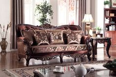 https://www.theclassyhome.comLyon Rich Cherry Fabric Crystal Tufting Sofa