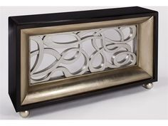 Artmax 60 x 35.5 Black Glass, Kona, Silver Leaf and Old World Gold Leaf Console Table