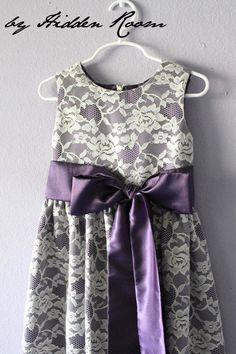 Lace Flower Girl dress in ivory and purple  Size XXS by HiddenRoom $67.39