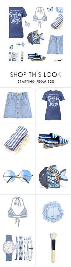 """""""Sweet tea and Jesus"""" by alongcametwiggy ❤ liked on Polyvore featuring Linum Home Textiles, Balenciaga, Tory Burch, Same Swim, Urban Decay, A.X.N.Y., Bobbi Brown Cosmetics and Terre Mère"""