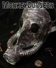 Steampunk Warrior metallic look gas mask by MonkeyDungeon on Etsy, $174.99