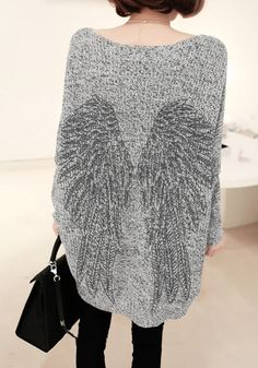 Knit Wing Pattern Sweater - Grey and Black Stitching Knit Top