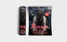 """Horror Flyer Template Features • Size: 1275×1875px (4×6"""") Bleeds 0.25"""" • Fully editable + Full layered • Photoshop Version: CS5 or Higher • Resolution: 300dpi • CMYK Colors Notes • Model not included in download file. #advertising #art #autumn #background #banner #bat #black #card #cartoon #celebration #cinema #Ciusan #club #creepy #dark #decoration #design #entertainment #event #evil #festival #film #flyer #graphic #greeting #grunge #halloween #holiday #horror #illustration #invitation #la Celebration Cinema, Creepy, Scary, Horror, Black Card, Background Banner, Party Flyer, Country, Flyer Template"""