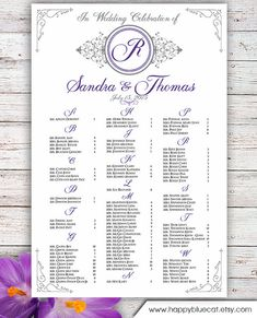 Wedding Seating Chart  Rush Service  Flower Wedding Seating