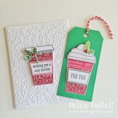 Holiday Card and Tag with Hero Arts Coffee Cup Tag stamp set