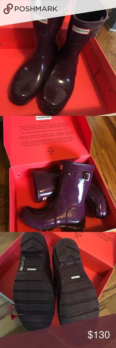 """BRAND NEW Hunter Rain Boots Short Gloss 7 Brand new and still in the box! These Hunter rain boots are a glossy purple color and sooo cute. I bought these short boots because I am only 5'3"""" and the tall ones were an awkward height at my knees. These are perfect! The shaft is 10"""" and the circumference is 15.25"""" so good for athletic calves. These have never been worn out of the house. These will also be cross posted on Vinted. I'm more flexible on price on that app. Hunter Shoes Winter & Rain…"""