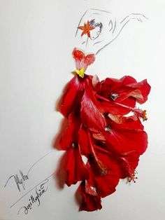 Chàng MC thể hiện khả năng thiết kế và óc sáng tạo qua những tác phẩm thời trang đầy nghệ thuật. Flower Fairies, Flower Petals, Art Floral, Illustration Blume, Pressed Flower Art, Little Flowers, Art Flowers, Creative Artwork, Floral Fashion