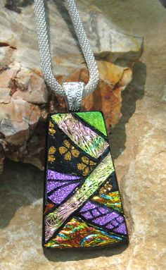 CIJ Christmas in July Dichroic Glass Necklace Dichroic by GlassCat, $30.00