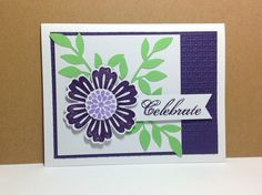 Stampin Up Mixed Bunches, Flower, Little Leaves Die, Birthday, Celebrate, Square Lattice Embossing Folder, Feeling Sentimental