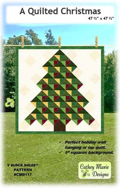 A Quilted Christmas By Laird, Cathey  - Finished Size 47-1/2in x 47-1/2in. A Quilted Christmas would be a great alternative to putting up a tree. Hang it and add ornaments or use it as a lap quilt. A Quilted Christmas is made with the easy-to-use, multi-function Y Block Ruler by Cathey Marie Designs.