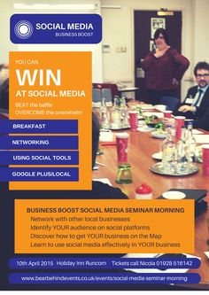 Business Boost Runcorn social media seminar and networking April 2015 organised by Behind Events Web Google, Professional Development, Social Platform, Internet Marketing, Online Business, Seo, Social Media, Events, Building