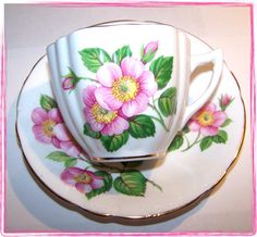 Windsor Wild Rose bone china tea cup and saucer.  These are mine.
