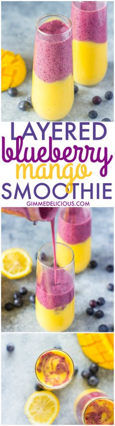 A healthy and easy to make layered blueberry mango smoothie with a touch of lemon and honey.