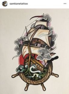 Trendy Tattoo Traditional Old School Ink Tatoo Ideas Dessin Old School, Old School Ink, Kunst Tattoos, Body Art Tattoos, Finger Tattoos, Ship Tattoos, Boat Tattoos, Dragon Tattoos, Arrow Tattoos