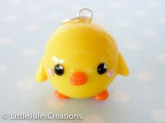 Kawaii yellow chick bird polymer clay charm. LittleJulesCreations