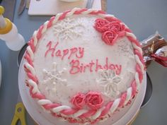 Top of winter birthday cake