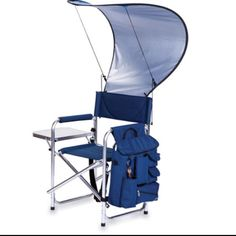 When you need the ultimate in portable seating, check out this cool new Cobra Portable Picnic Chair. This all-in-one folding chair features a detachable canopy for shielding yourself from the sun, an armrest caddy cooler to keep your drinks cold and food chilled, a comfortable padded seat, backrest and armrests, and even a convenient fold-out side table. It's perfect for sporting events, picnics, backyard BBQs, parades, the beach, the patio, or anywhere else you can think of.