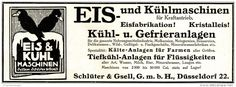 Original-Werbung/ Anzeige 1913 - EIS - UND KÜHLMASCHINEN SCHLÜTER & GESELL - DÜSSELDORF - ca. 180 x 60 mm