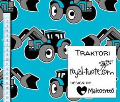 Joustofrotee Isot Traktorit - turkoosi /Stretch terry Big Tractors - turquoise