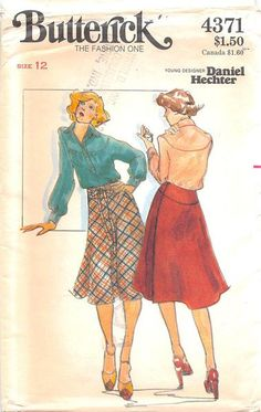BUTTERICK 4371 - UNCUT - MISSES BLOUSE & SKIRT