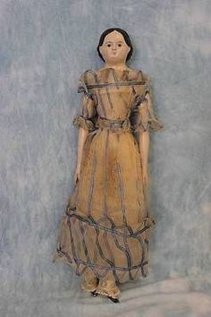 "Early 17 5"" Antique Papier Mache Doll c1850 Milliner's Model Wood Arms Legs 