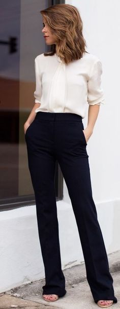 Just a pretty style | Latest fashion trends: Office look | White blouse and high waisted flared pants