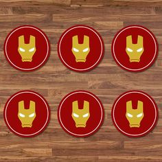 Iron Man Cupcake Toppers - Iron Man Stickers - Red & Gold Logo - Iron Man Birthday - Iron Man 2 inch