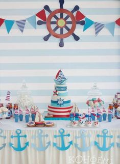 Birthday themes for boys, baby boy birthday, anchor birthday, nautical cake Anchor Birthday, Sailor Birthday, Sailor Party, Sailor Theme, 1st Boy Birthday, First Birthday Parties, Birthday Ideas, Birthday Table, 1st Birthdays