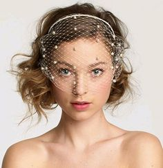 Pearl birdcage wedding veil $70 - gorgeous!