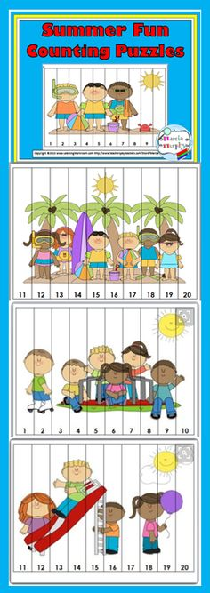 Summer Fun Counting Puzzles Counting Puzzles, Number Puzzles, Math Numbers, Preschool Summer Camp, Preschool Ideas, Elementary Math, Kindergarten Math, Educational Activities, Activities For Kids