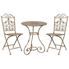 Metal Folding Bistro Table & Chairs Set Set Of 3 - 32520