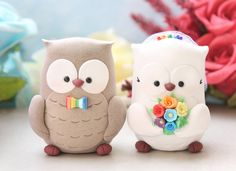 Personalized owls wedding cake toppers with rainbow theme! Sweet bride and groom, clay figurines, decorations for your cake or…