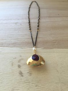 Amethyst Drop Necklace in 24K gold Necklace by TalismanbyANYA