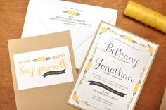 Wedding invitations with back pockets