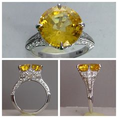 8 Carat Yellow Sapphire and Diamond Ring Antique Style Engagement Rings, Popular Engagement Rings, Filigree Engagement Ring, Round Diamond Engagement Rings, Engagement Ring Styles, Designer Engagement Rings, Antique Diamond Rings, Diamond Alternatives, Sapphire Jewelry