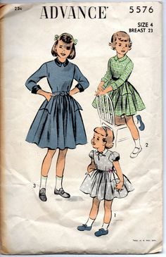 Advance 5576 1950s  Girls Dress Pattern Full Skirt Arrowhead Slot Pockets childs vintage sewing pattern  by mbchills