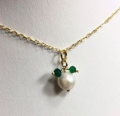 Pearl Green Onyx Charm Pendant 14k Gold Filled Chain Necklace 17"