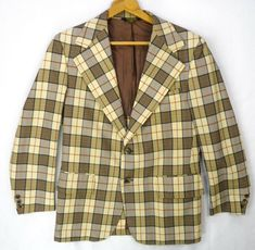 b32945e5 VGC Vtg 70s Mod Polyester Brown Plaid Leisure Sportcoat Disco Blazer Jacket  M | eBay