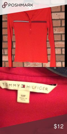 TOMMY HILFIGER top Red long sleeve shirt, no tears, stains etc. has little buttons at neck Tommy Hilfiger Tops Tees - Long Sleeve